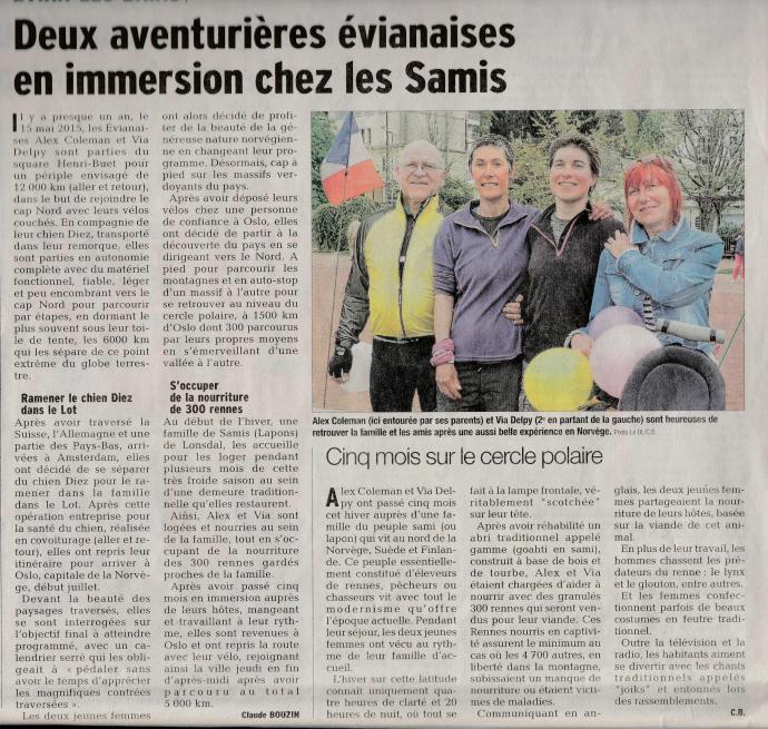 Dauphiné Libéré  - dimanche 24 avril 2016